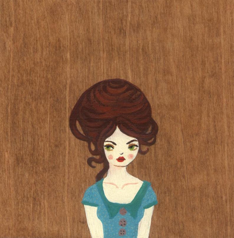 Bluebelle Art Print painting acrylic wood grain image 0