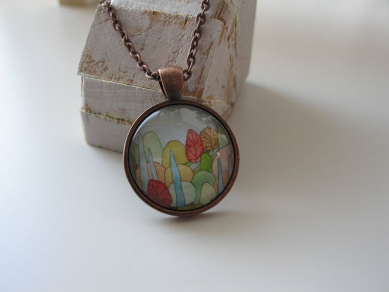 Lovely Landscape  mini print necklace pendant and chain image 0
