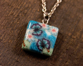 SALE Handmade polymer clay colorful flowers and butterflies pendant necklace