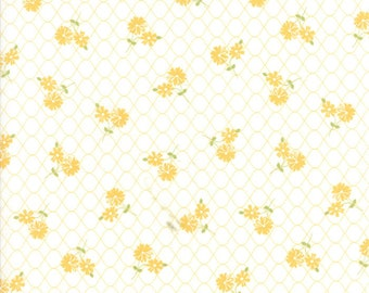1 yard piece/remnant - Pepper and Flax - Daisy Days in Eyelet White: sku 29041-11 cotton quilting fabric by Corey Yoder for Moda Fabrics