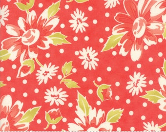 """1 yard 5"""" piece/remnant - Coney Island - Blooms in Candy Apple Red: sku 20280-12 cotton quilting fabric by Fig Tree and Co. for Moda Fabrics"""