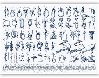 Nautical Knots, Sailor Knots, Marine Knots Print, Sailor gift, Sailing decor, Seaside Prints, Marine Wall Decor, Nautical art, 11x14