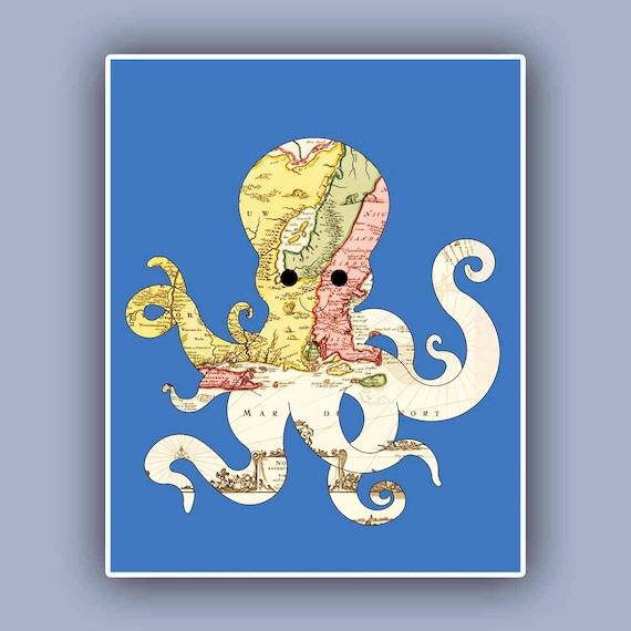 Nautical Octopus Map Print Marine Wall Decor Nautical Art Etsy