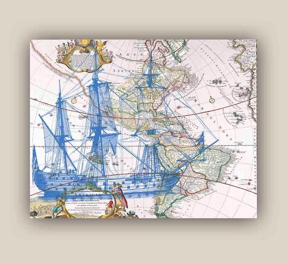 Blue Frigate Sailboat Print X Print Old Map America Etsy