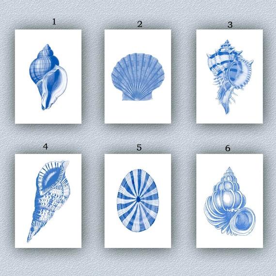Seashell Art Set 6 Sea Shells Prints Vintage Blue Ocean Etsy