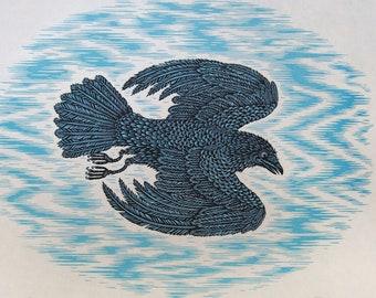 GLIDING CROW Woodcut Print, Woodblock Print by Tugboat Printshop   Valerie Lueth