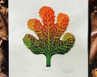 Turning Leaf - Woodcut Print, Woodblock Print by Tugboat Printshop