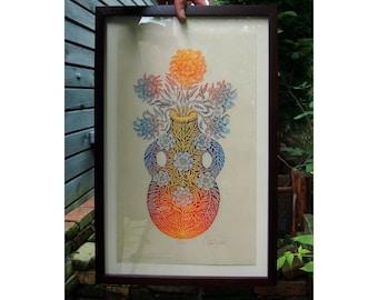 VESSEL - FRAMED PRINT - Color Woodcut Print, Woodblock Print by Tugboat Printshop, Valerie Lueth