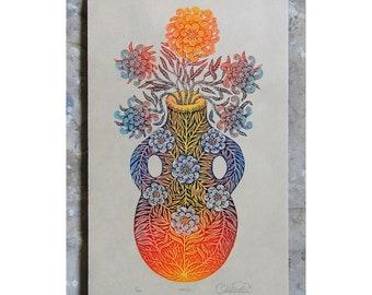 VESSEL - Color Woodcut Print, Woodblock Print by Tugboat Printshop, Valerie Lueth