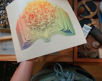 Page Turner - Woodcut Print, Woodblock Print by Tugboat Printshop, Valerie Lueth (2nd Edition)