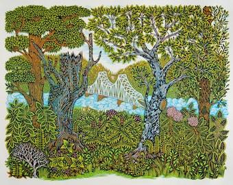 Blue Bridge - Woodcut Print, Woodblock Print by Valerie Lueth   Tugboat Printshop