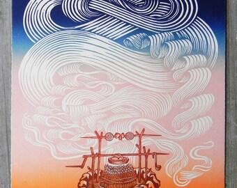 Firepit - Woodcut Print, Woodblock Print by Tugboat Printshop