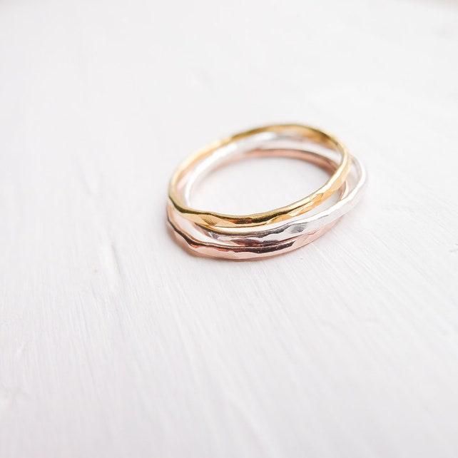 Gehämmert dünne Ringe Set von 3 Sterling Silber Rose Gold Gold | Etsy
