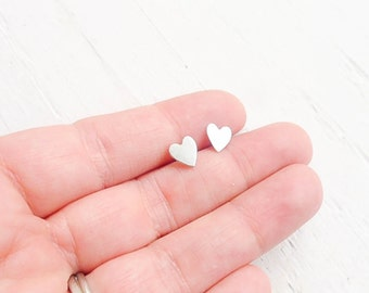 Heart Stud Earrings Sterling Silver Love Earrings Gift for Friend