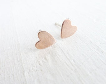 Rose Gold Stud Earrings Pink Heart Earring Sterling Silver Heart Earings Small Studs Everyday Earrings Every Day Jewelry Hearts Love Gifts