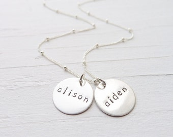 Mom Necklace - Sterling Silver Engraved Kids Names Necklaces Hand Stamped Personalized Charms for New Mom Mommy Necklace Mother