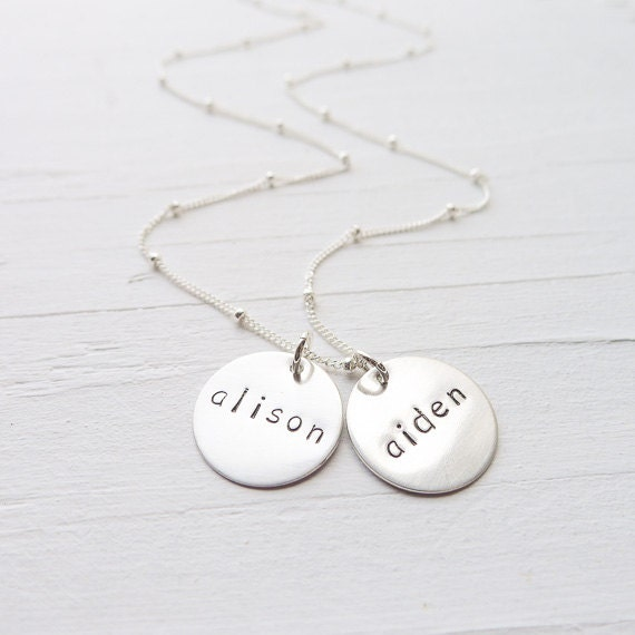 Mommy necklace Hand stamped jewelry Personalized jewelry Mothers necklace Name and birthstone necklace Gift mom Sterling silver