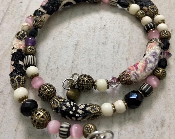One Purple Bead - wrap around kimono cord beaded bracelet