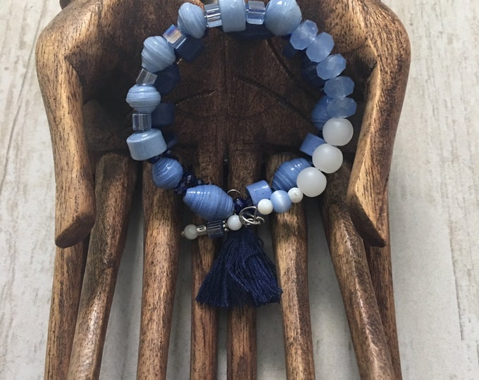 Ain't Nothing But the Blues - wrap around paper bead bracelet