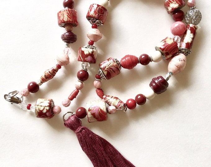 Goodbye Ruby Tuesday - One of a Kind, Handmade Paper Bead Necklace