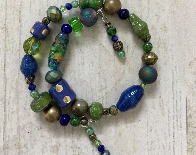 Hommage to Van Gogh I - wrap around paper bead bracelet