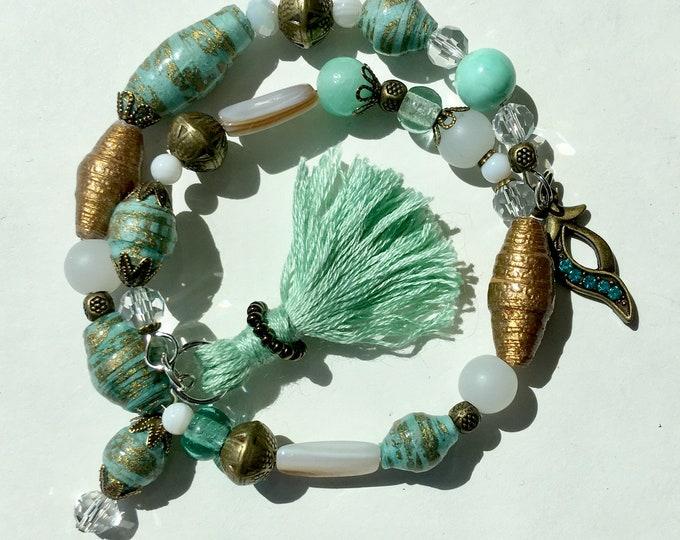 Crystal Blue Persuasion - handmade paper bead bracelet