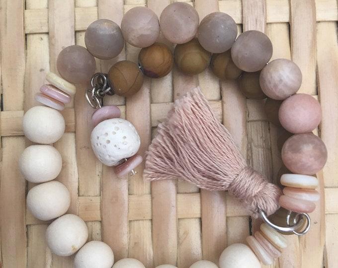 Blush - Customizable Wrap Around Mala/Prayer Bracelet featuring Semi-precious Wood Jasper and Sun Stone Beads