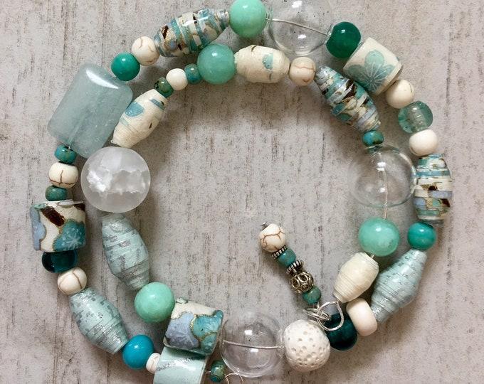 Caribbean Morning I - wrap around handmade paper bead bracelet