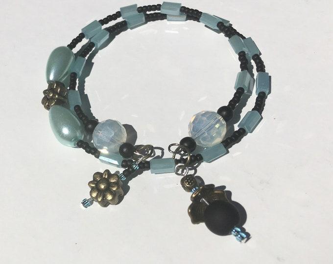 Zee-Zebra-Aqua - One of a Kind Wrap Around Memory Bracelet