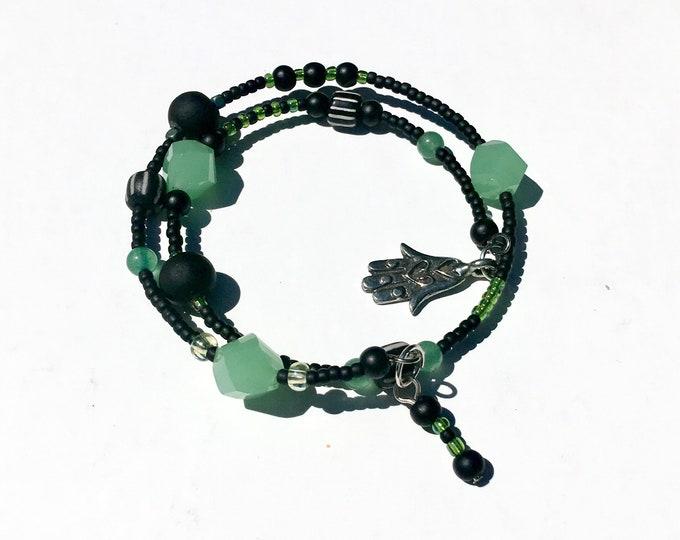 Zee-Zebra Green - One of a Kind Wrap Around Memory Bracelet