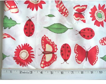 """60"""" Wide Red & Green Decorator Fabric Ladybugs Feathers Leaves Flowers Nature 2+ YARDS"""