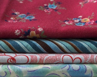 4 FAT QUARTERS - 100% Cotton Fabric for Small Craft and Sewing Projects