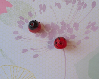"""2 Vintage LADY BUG BEADS  1/2"""" Handcrafted Glass Beads"""