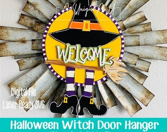 Laser SVG Cut File, Door Hanger Witch Welcome, Halloween wall hanging, Witches hat, Hocus Pocus, Digital Download, Laser Ready File