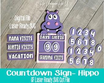 Laser SVG Cut File, Hippo Countdown Sign, Days Until SVG, Hippo Paint Kit SVG, Digital Download, Laser Ready File