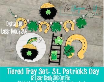 Laser SVG Cut File, Tiered Tray St. Patrick's Day set, Lucky Shamrock, Horseshoe, Pot of Gold  Digital Download, Laser Ready File