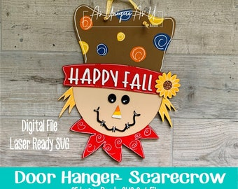 Laser SVG Cut File, Door Hanger Scarecrow, Fall Scarecrow wall hanging, Fall Paint Kit SVG, Digital Download, Laser Ready File