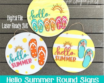 Laser SVG Cut File, Hello Summer Round Sign SVG, Round Sign Laser file, Door Hanger, Table Decor, Digital Download, GF Laser Ready File