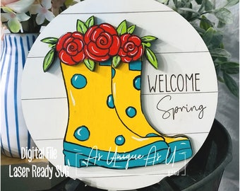Laser SVG Cut File, Welcome Spring Sign SVG, Tiered Tray rain boots, Spring Showers, Digital Download, GF Laser Ready File