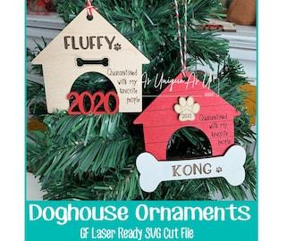 Laser SVG Cut File, DogHouse Ornament Blanks, Pet Ornaments SVG, Glowforge digital file
