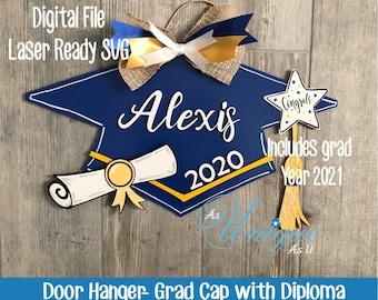 Laser SVG Cut File, Door Hanger Graduation Cap, Class of 2021, Graduation Cap with Diploma, Digital Download, GF Laser Ready File