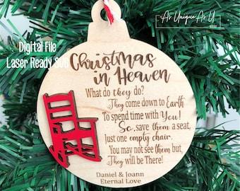Laser SVG Cut File, Ornament Christmas in Heaven, Memorial Ornament, Digital Download, Laser Ready File