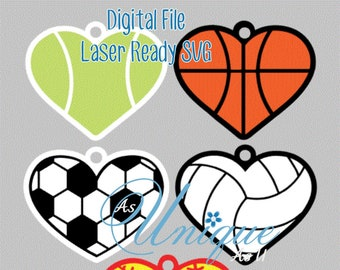 Laser SVG Cut File, Sports Hearts Keychains, Bag Tags, Ornaments, Digital Download, GF Laser Ready File
