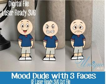 Laser SVG Cut File, Mood Dude, Happy, Sad, Mad Feelings, Mood Doll, Expressive Feelings Doll, Digital Download, Laser Ready File