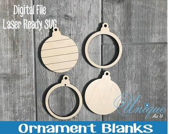 Laser SVG Cut File, Ornament Blanks, Ornament Bauble, Ornament Shiplap, Ornament solid, Glowforge digital file