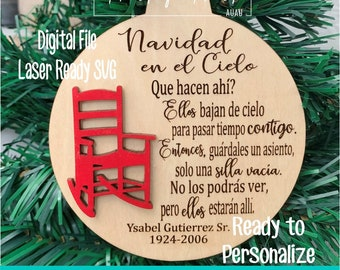 Laser SVG Cut File, Ornament Navidad en Cielo, Spanish Memorial Ornament, Digital Download, Glowforge Laser Ready File