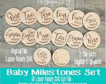 Laser SVG Cut File, Baby Milestone set, English and Spanish, Baby Photo Props, Digital Download, Glowforge Laser Ready File