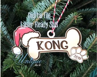 Laser SVG Cut File, Ornament Dog Bone with Santa Hat, Pet Lover Ornament, Digital Download, GF Laser Ready File