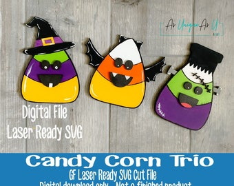 Laser SVG Cut File, Candy Corn Bat, Candy Corn Witch, Candy Corn Frankenstein, Tiered Tray decor, Digital Download, Laser Ready File