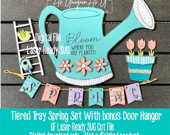 Laser SVG Cut File, Tiered Tray Spring Set, Flower pot mini sign, Spring Watering Can, Door Hanger  Digital Download, Laser Ready File